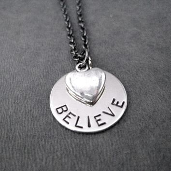 BELIEVE IN LOVE Necklace - Pewter Heart and Nickel pendant priced with Gunmetal chain