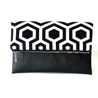 Black and White Fold Over Clutch, Geometric Clutch Bag, Zippered foldover bag