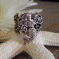 Antique Silver Mermaid Filigree RingAdjustable by SundayTreasures