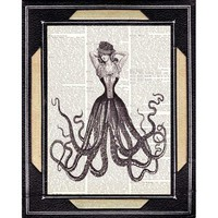 LADY OCTOPUS print on dictionary page victorian by EphemeraAndMore