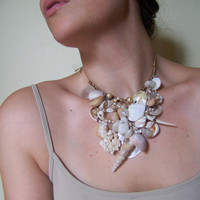 Mermaid Treasure Bib Necklace Cream Shells by vixendesignstudio