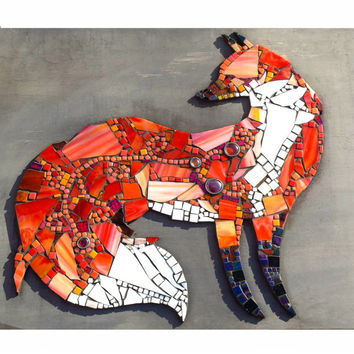 Mosaic Art Fox Wall Hanging Home Decor. Trendy Hipster Animal Stained Glass Art.