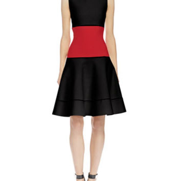 Alexander McQueen Colorblock Jacquard Fit-And-Flare Dress, Black/Red