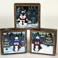 Christmas Block Penguin Snowman Decoration