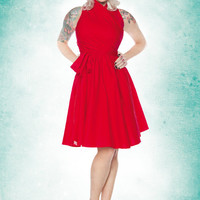 Folter Red Haute Wrap Dress - Unique Vintage - Bridesmaid & Wedding Dresses
