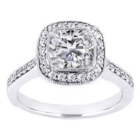 Engagement Ring - Cushion Diamond Cathedral Engagement Ring pave Sidestones 0.26 tcw. In 14K White Gold - ES346CUM