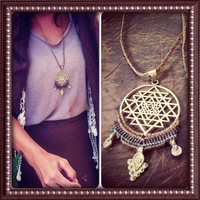 Flower of life necklace with macrame MAGICAL mandala TRIBAL bohemian art of goddess