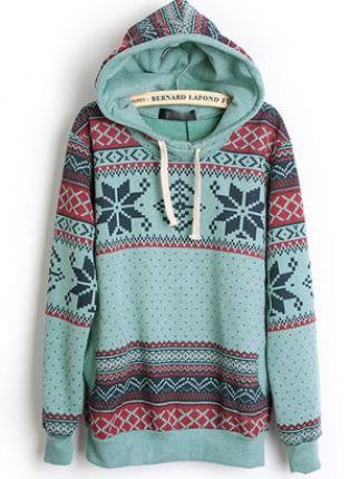 Hooded Geometric Blue Sweatshirts  S001817