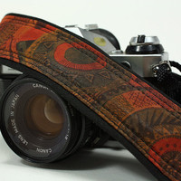dSLR Camera Strap, Aztec, Rust, Teal, Gold, Black