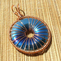 Copper wire wrapped MM hematite donut rainbow color blue gold purple green large bail pendant