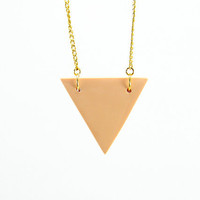Peach Triangle Geometric Necklace - Geometric Jewelry - Modern Minimalist Simple Everyday Pastel Color Necklace - Gold Plated Chains for Wom