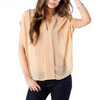 Flynn Top in Taupe - ShopSosie.com