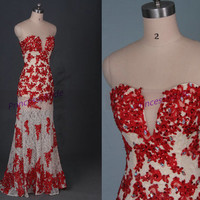 2015 long red lace prom dresses with sequins,sexy women gowns for evening party hot,discount wedding dress in stock.