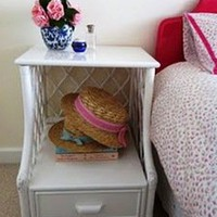 Lady Chatterley&#x27;s Affair  White Cane Bedside Table