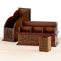Carved Wood Desk Organizers | Home Office Accessories| Accessories | World Market