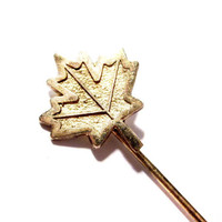 Vintage Vermeil Stickpin, Gold Maple Leaf Stick Pin