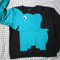 BRIGHTS on Black Elephant Trunk sleeve sweatshirt sweater jumper LIMITED Ladies S,M,L,XL