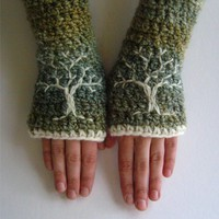 Arm Warmers with Tree Design  Green Blue Cream  Ready by LoveFuzz