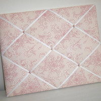 Pink Floral Stripe fabric - French Memo Board