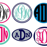 3&quot; Small Vinyl Monogram Sticker 2 Color