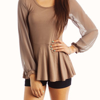 Plumed Sheer Sleeve Top-GoJane.com