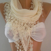 Pearl White   Scarf   Cotton  Scarf  Bridesmaids Gifts....It made with good quality COTTON fabric.