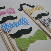 Photo Booth Props on a Stick Mustaches on a by olivetreemonograms