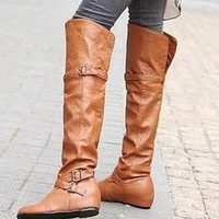 Womens Brown Sexy Buckle Strap Flat Over The Knee Riding Boots Shoes #252