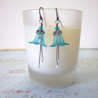 Flower (Petunia) Bead Earrings - Hand Dyed Lucite - Teal Blue by 636designs