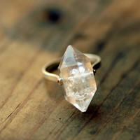 Herkimer Diamond Ring, Sterling Silver Rivet - Custom Stone, Sizing
