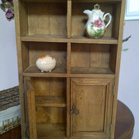 RUSTIC Vintage Wooden Wall Shelf with CABINET Doors