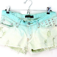 SALE - Dip dyed green & blue studded Levis shorts