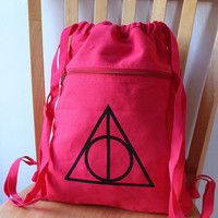 Red Deathly Hallows Backpack Harry Potter Canvas Screen Printed