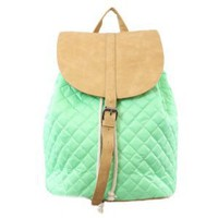 61118 NILA ANTHONY Quilted nylon drawstring backpack. (Mint)