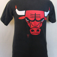 Vintage Amazing 80s CHICAGO BULLS JORDAN Starter Black Basketball Graphic Small Cotton T-Shirt