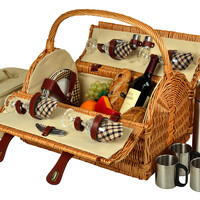 Yorkshire Basket for 4 w/ Coffee, Brown, Picnic Baskets