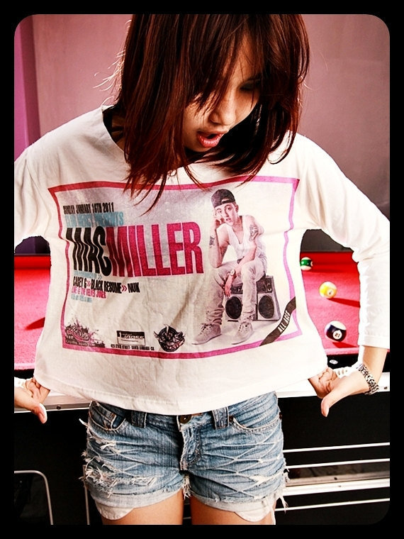 Mac Miller Tee Shirt Long Sleeve T Shirt Crop Top Off White Art Cream Women Size S M