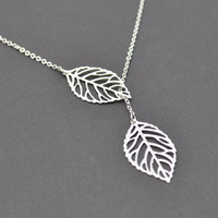 Modern leaf necklace.