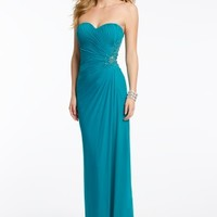 Ruched Mesh Strapless Dress