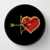 Cupid Bow and Heart (red) Wall Clock by Lisa Argyropoulos