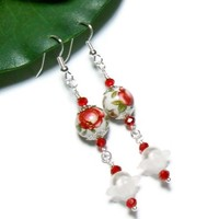 Earrings Japanese Tensha Beads White Pearl Long Red Roses Wire Choice