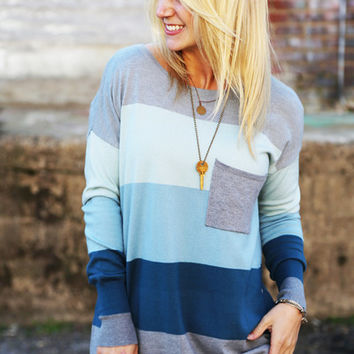 Crazy, Stupid, Love Sweater {Blue + Gray}