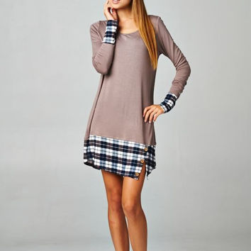 Paneled Plaid Print Tunic Dress with Buttons