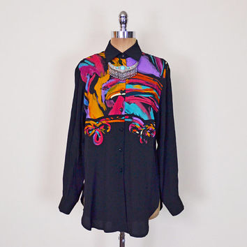 Vintage 80s 90s Black Abstract Shirt Blouse Top Abstract Print Shirt Western Shirt Southwestern Shirt Southwest Shirt Oversize Shirt S M
