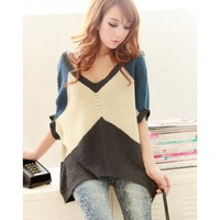 Blue Kitting Women Top Muilt Color Wide Stripes Sweater @HX1564bl