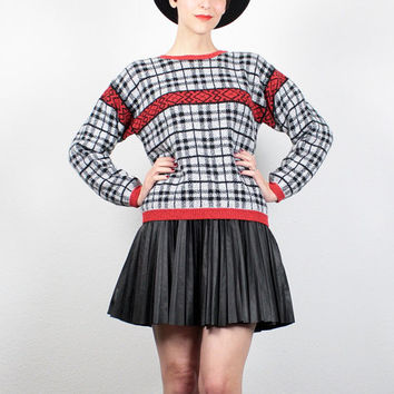 Vintage 80s Sweater Black White Red Plaid Striped Print Jumper 1980s Sweater New Wave Knit Pullover Preppy Cosby Sweater  S Small M Medium