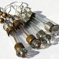 Antique Fuse Steampunk Earrings. Eco Friendly. Glass Tubes. Silver ONLY. You Blow Blow Your Fuse When You&#x27;ve Fallen in Love. tagt team