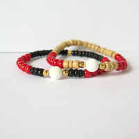 Base Chakra Reiki Bracelet - Red Coral and White Jade with Black Coconut Wheel Beads - New Age Jewelry