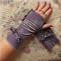 Lavender Fields Velvet Fingerless Gloves Long Arm Warmers Purple Lavender Stretch Teens, Juniors, Womens Fashion