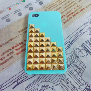 Green iPhone 4, 4S hard case cover with golden pyramid stud for apple iPhone 4 Case, iPhone 4S Case, iPhone 4GS Case -058